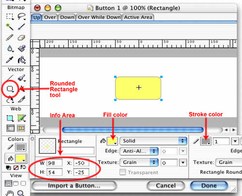 A rounded rectangle is drawn using the Rounded Rectangle tool. Settings are adjusted in the Property inspector.